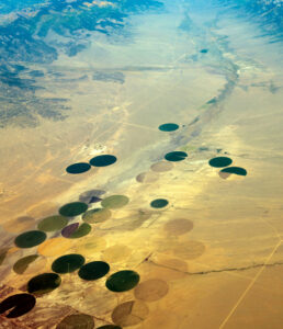 Aerial view of crop circles in the San Luis Valley.